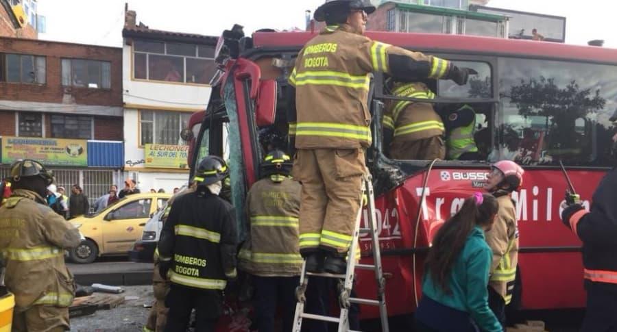 Accidente de los dos buses de Transmilenio
