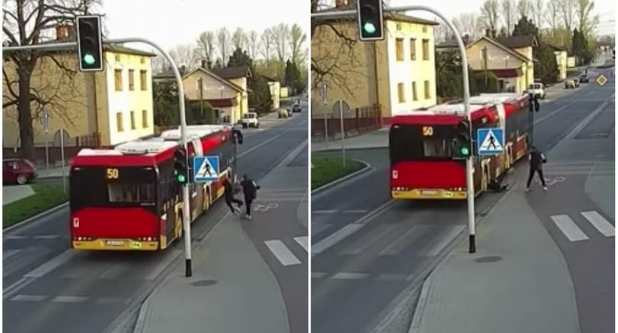 Bus casi atropella a joven.
