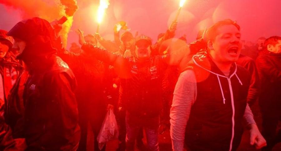 Hinchas antes del Liverpool-Roma