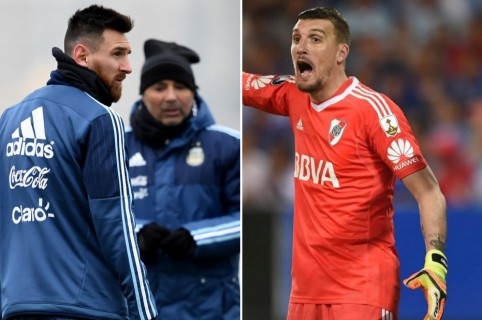 Lionel Messi, Jorge Sampaoli y Franco Armani.
