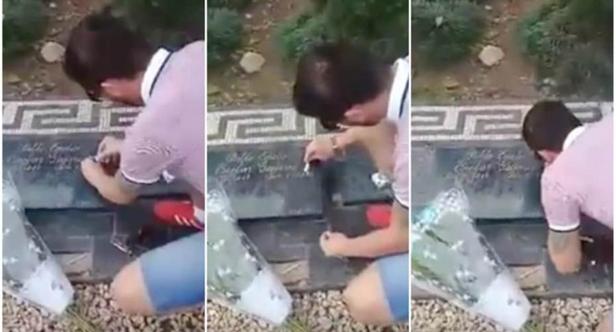 Británico aspirando cocaína en tumba de pablo Escobar.
