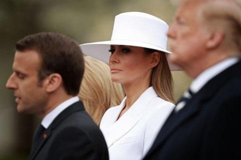 Melania Trump con Emmanuel Macron y Donald Trump