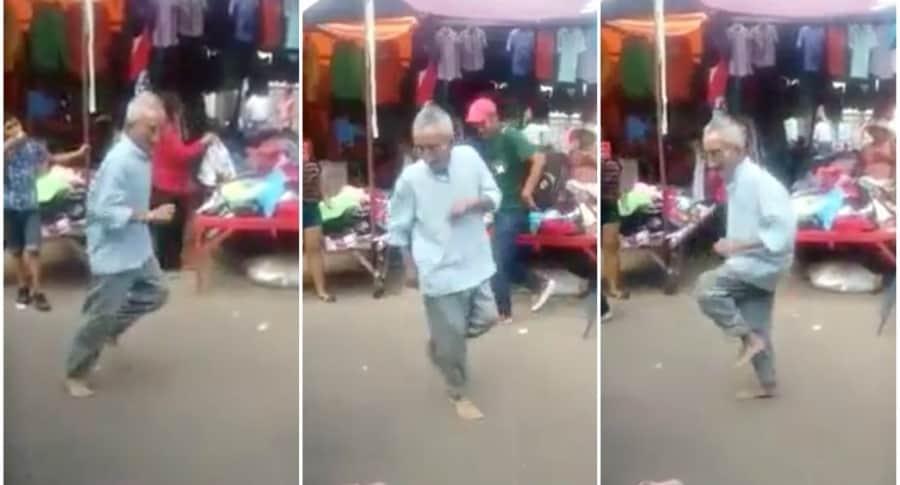 Abuelo baila en la calle.