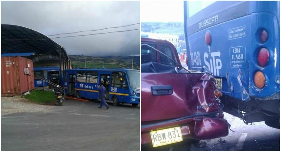 Bus de SITP se rueda en parqueadero.