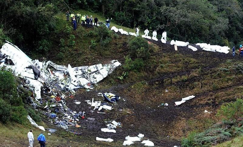 Avión del Chapecoense accidentado