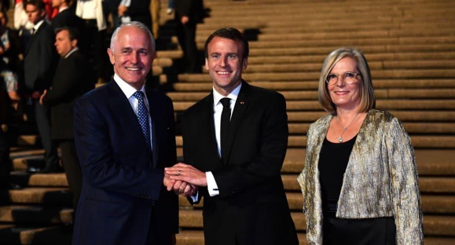 Malcolm Turnbull, Emmanuel Macron y Lucy Turnbull