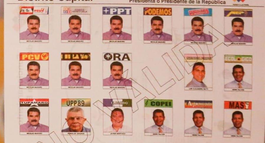Tarjetón de elecciones presidenciales de Venezuela