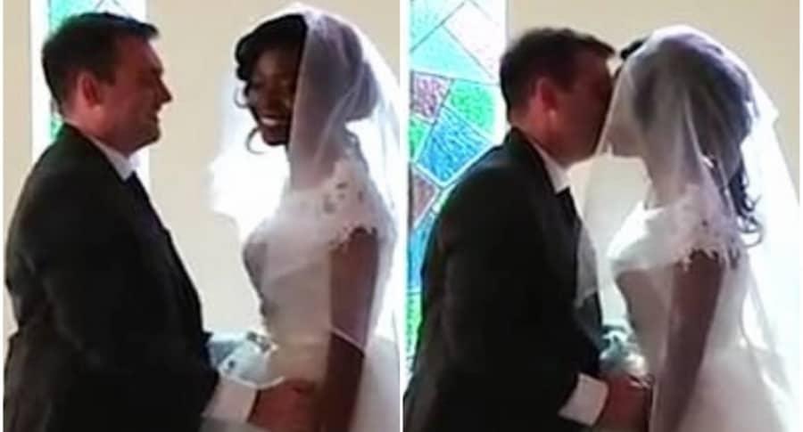 Mujer se casa en un hospital.