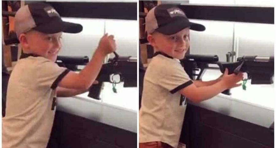 Niño usa rifle.