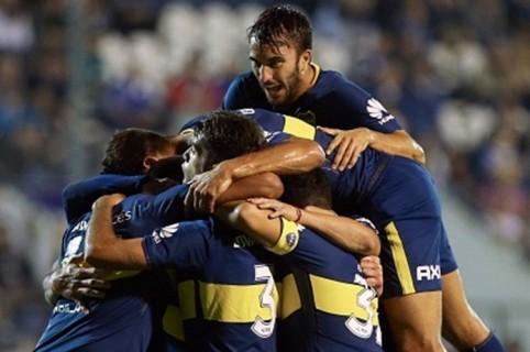 Sebastián Pérez en festejo de Boca Juniors