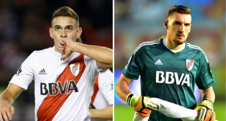 Rafael Santos Borré y Franco Armani