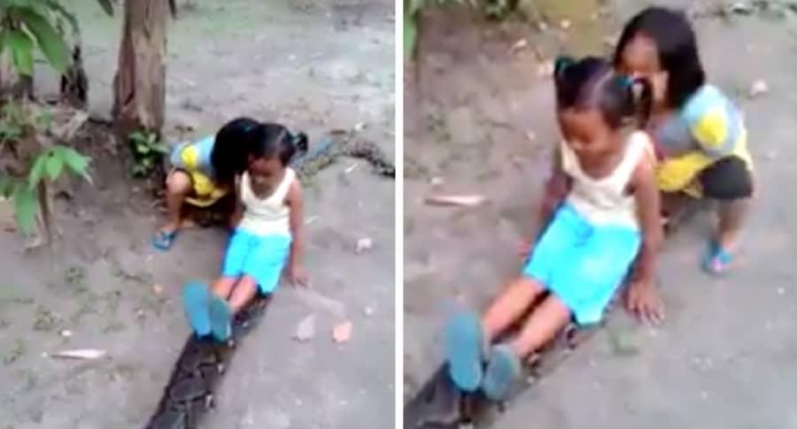Niñas con anaconda