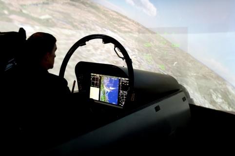 Simulador de vuelo de un Súper Hornet
