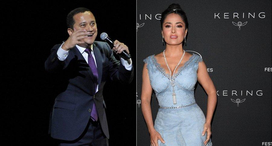 Yuri Buenaventura, cantante, y Salma Hayek, actriz.