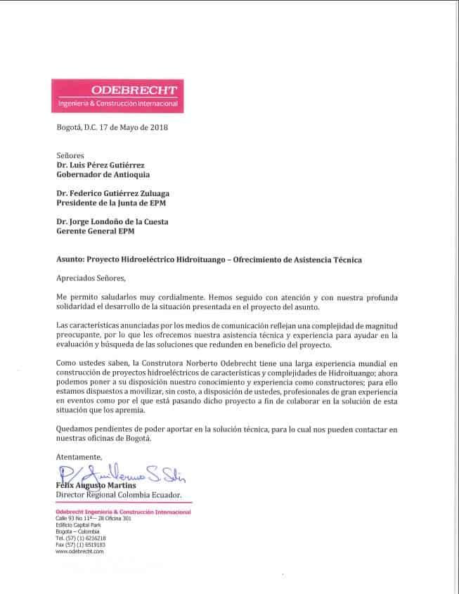 Carta Odebrecht a Hidroituango