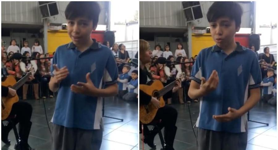 Niño 'canta' en lengua de señas.