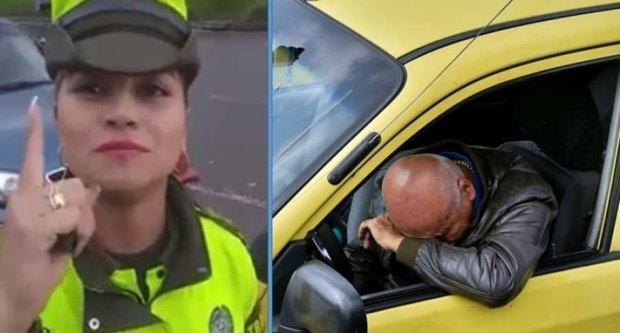 Mujer policía que impuso el comparendo / ilustración