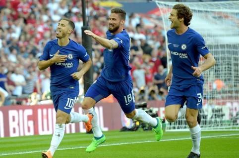 Celebración del Chelsea, tras anotar gol de la victoria