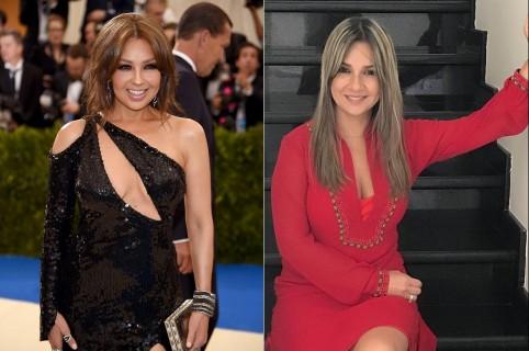 Thalía, cantante, y Vicky Dávila, periodista.