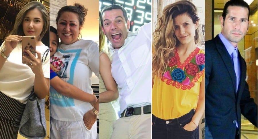 Dayana Jaimes y Patricia Acosta, la mamá y la viuda de Martín Elías; Iván Lalinde, presentador; y Mabel Moreno y Gregorio Pernía, actores.