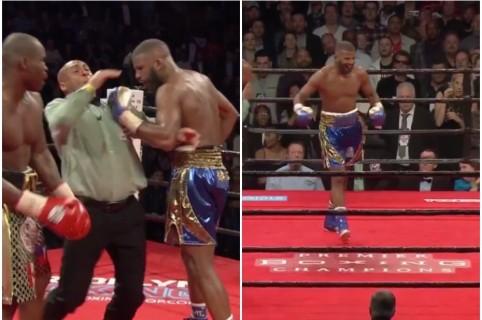Boxeador golpea a árbitro.