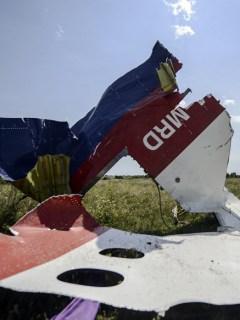 Fragmento del avión derribado