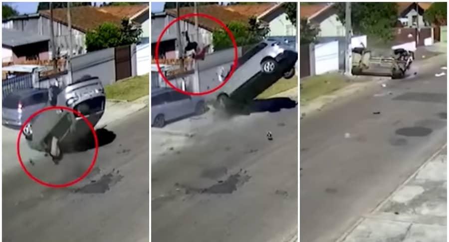 Ladrón de autos sale a volar.