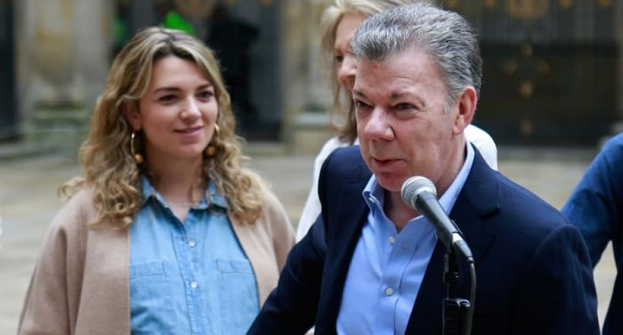 Juan Manuel Santos, presidente de Colombia, con su hija María Antonia.
