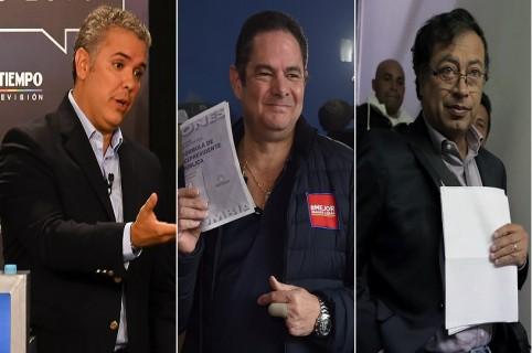 Iván Duque, Germán Vargas Lleras y Gustavo Petro, candidatos presidenciales.