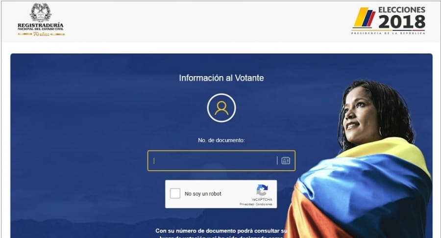 Captura de pantalla Registraduría