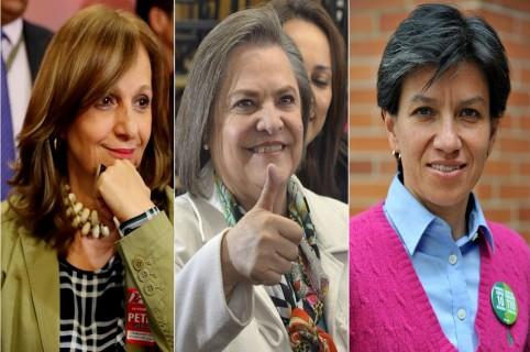 Ángela Robledo, Clara López y Claudia López, candidatas vicepresidenciales.