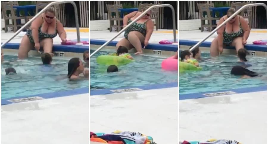 Mujer se depila en una piscina.