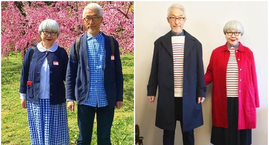 Abuelos combinan sus vestuarios.