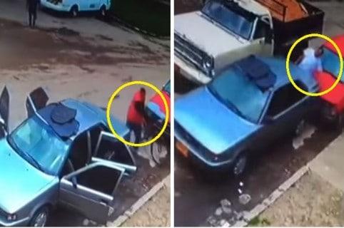 Momentos en los que el delincuente roba el carro y atropella al propietario