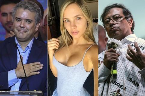 Iván Duque y Gustavo Petro, candidatos presidenciales, y Elizabeth Loaiza, modelo.
