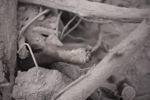 Víctima del volcaán de Fuego, en Guatemala