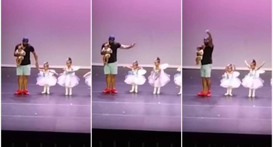 Papá baila ballet con su hija de 2 años.