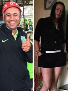 Jhon Alexander Rendón, entrenador de divisiones menores del Atlético Nacional, y Shirley Saldarriaga, mamá de jugador