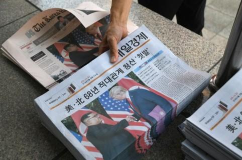 Primera plana de la prensa surcoreana