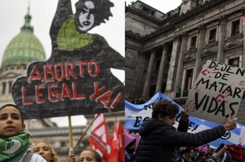 Manifestaciones a favor y en contra del aborto legal en Argentina