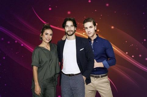 Carolina Ramírez, Carlos Torres y Juan Manuel Restrepo, de 'La reina del flow'