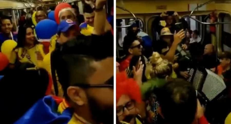 Hinchas colombianos en metro