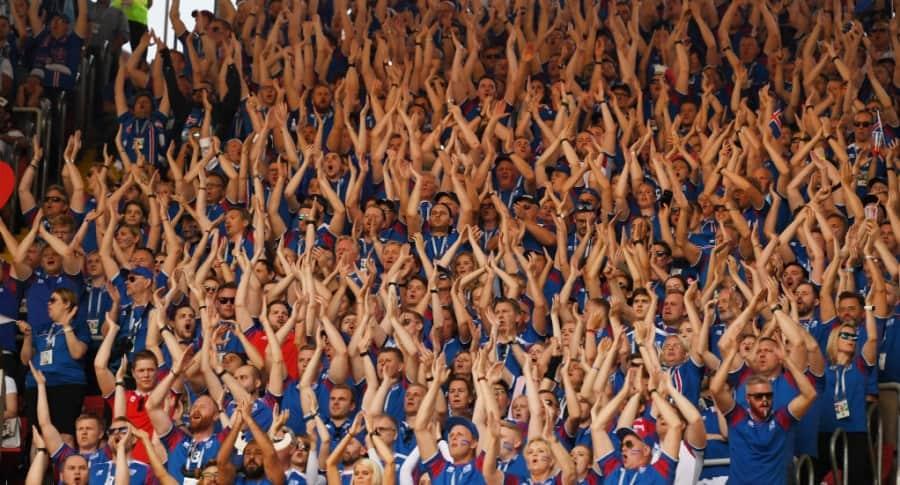 Islandeses en el partido contra Argentina.