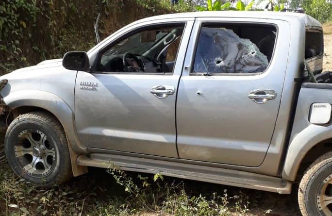 Camioneta baleada en Teorama, Norte de Santander.