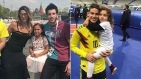 Daniela Ospina, modelo; Sebastián Yatra, cantante; James Rodríguez, futbolista; y su hija, Salomé.