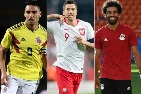 Falcao, Lewandowski y Salah