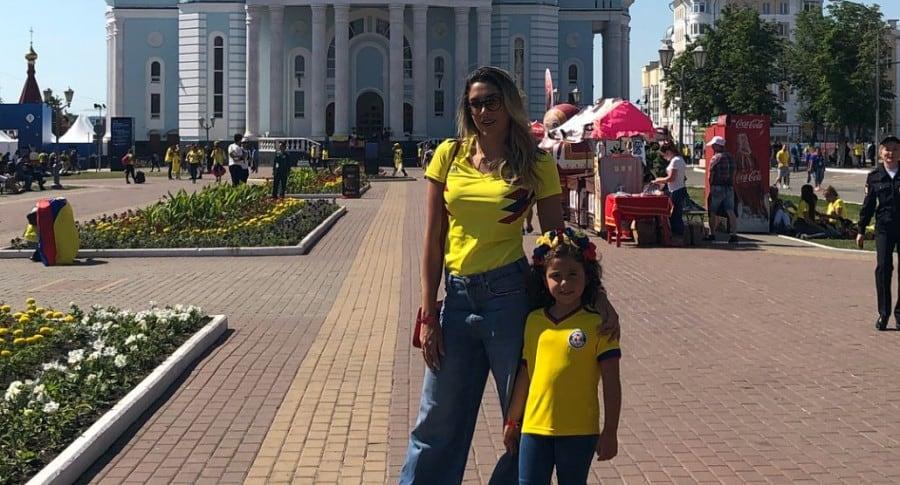 Daniela Ospina, modelo, y su hija con James Rodríguez, Salomé.