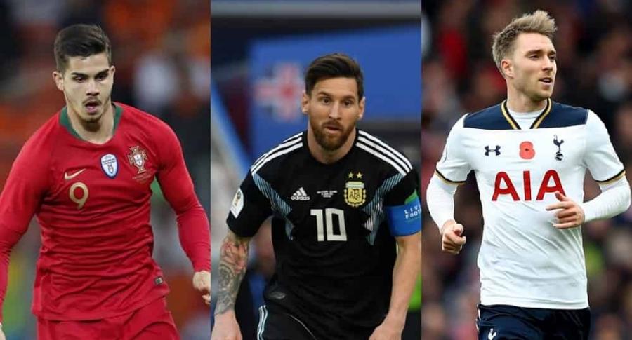André Silva, Lionel Messi y Christian Eriksen