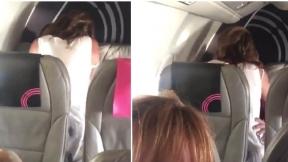 Pareja tiene sexo en un avión.