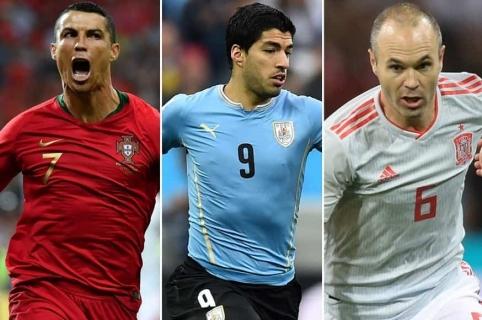 Cristiano Ronaldo (Portugal), Luis Suárez (Uurguay) y Andrés Iniesta (España)